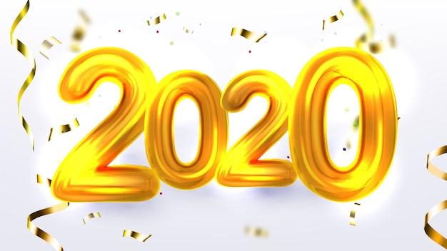Bannière de fête de noël or 2020 pour le nouvel an