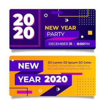 Bannière fête de nouvel an en design plat