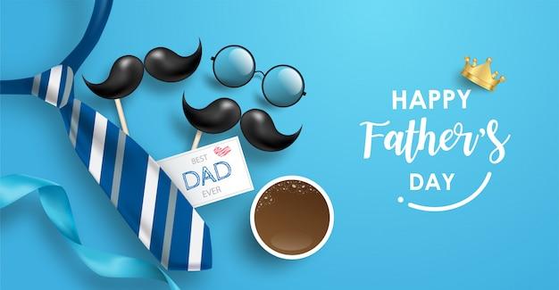 Bannière de fête des pères heureux avec cravate, moustache, lunettes cercle et éléments.