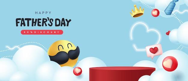 Bannière de fête des pères heureux avec smiley moustache et forme cylindrique d'affichage du produit.
