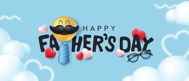 Bannière de fête des pères heureux avec smiley moustache