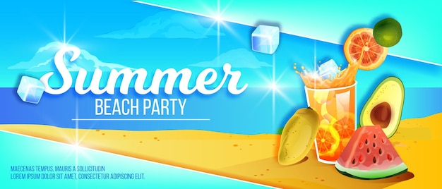 Bannière de fête de plage d'été île tropicale sable fruits exotiques glace froide boisson verre pastèque