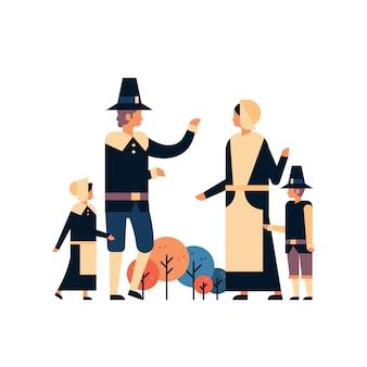 Bannière de la fête de thanksgiving de la famille amérindienne