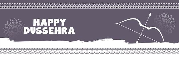 Bannière de fête traditionnelle heureuse dussehra avec arc et flèche