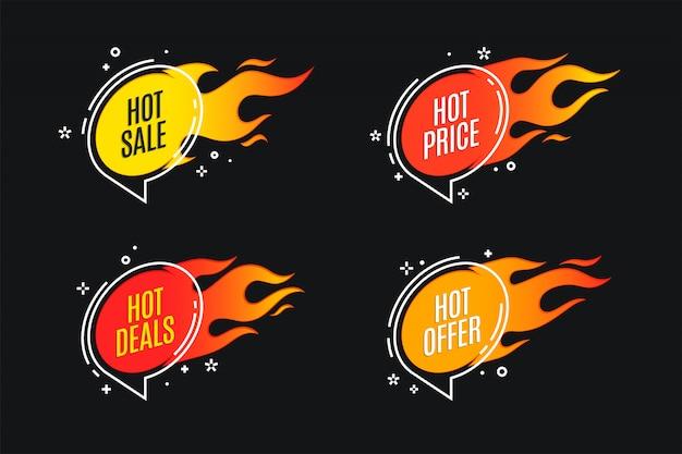 Bannière de feu promotion plat linéaire, étiquette de prix, vente chaude, offre
