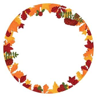 Bannière avec des feuilles d'automne colorées. style de dessin animé de vecteur.