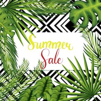 Bannière avec des feuilles de palmier.