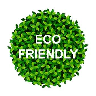 Bannière avec des feuilles vertes dans une balle eco