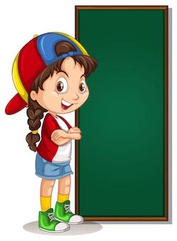 Bannière avec fille et greenboard