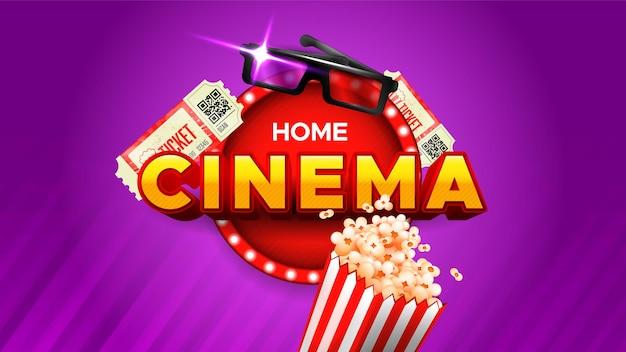 Bannière de film maison avec pop-corn et lunettes 3d