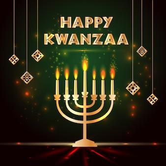 Bannière fixée pour kwanzaa avec des bougies et des couleurs traditionnelles.