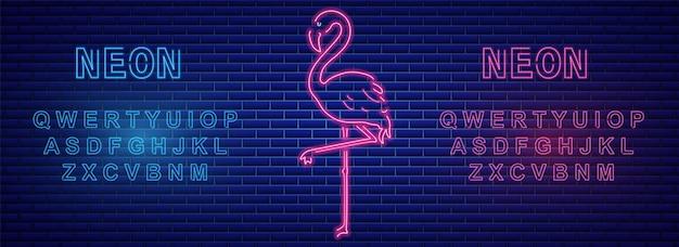 Bannière de flamants roses avec alphabet néon