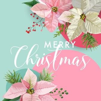 Bannière de fleur de poinsettia d'hiver de noël, fond graphique, invitation florale de décembre, flyer ou carte