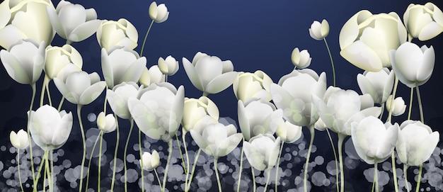 Bannière de fleurs blanches