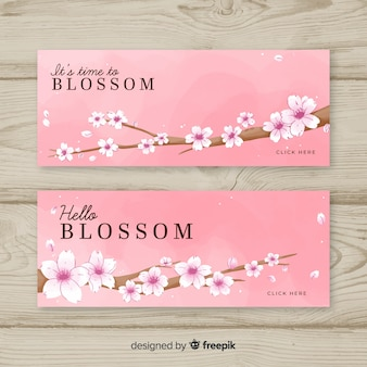 Bannière de fleurs de cerisier dessinés à la main