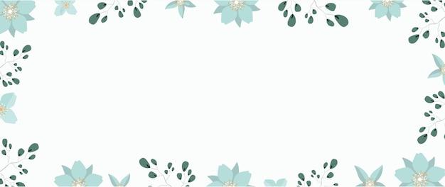 Bannière avec fleurs et feuilles