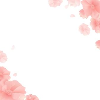 Bannière, fleurs, fond blanc