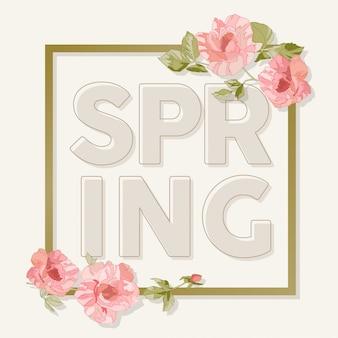 Bannière avec des fleurs de printemps