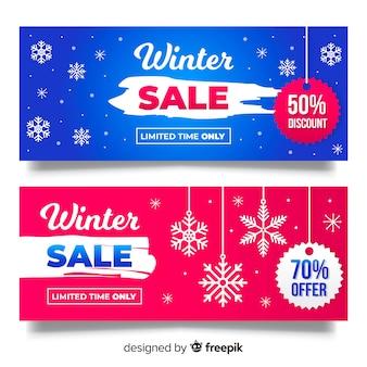 Bannière de flocons de neige de vente d'hiver