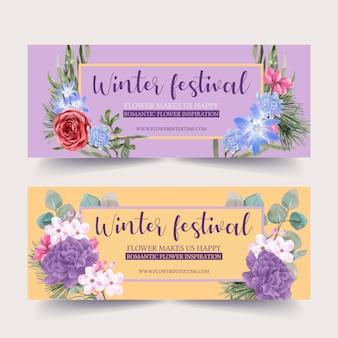 Bannière de floraison d'hiver avec rose, pivoine, chrysanthème