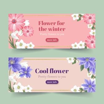 Bannière de floraison hivernale avec gerbera, coronarius, lis