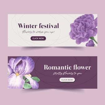 Bannière de floraison hivernale avec pivoine, fleur de cattleya