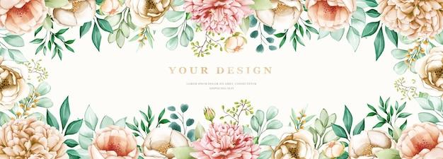 Bannière floral dessiné dur aquarelle