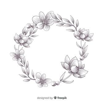 Bannière floral dessiné main réaliste