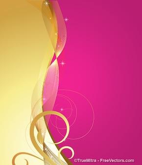Bannière floral lumineux d'or et de pourpre