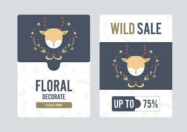 Bannière floral et mignon de cerf