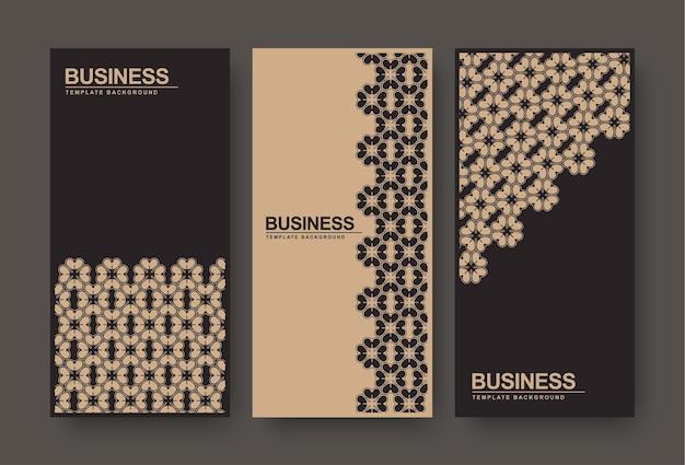 Bannière florale abstraite marron et noir