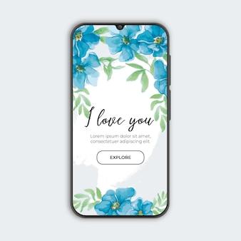 Bannière florale bleue avec smartphone