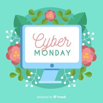 Bannière florale du cyber lundi