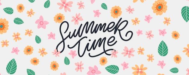 Bannière florale de l'heure d'été