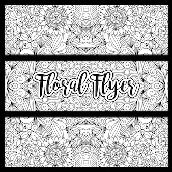 Bannière florale horizontale avec des fleurs dessinée à la main