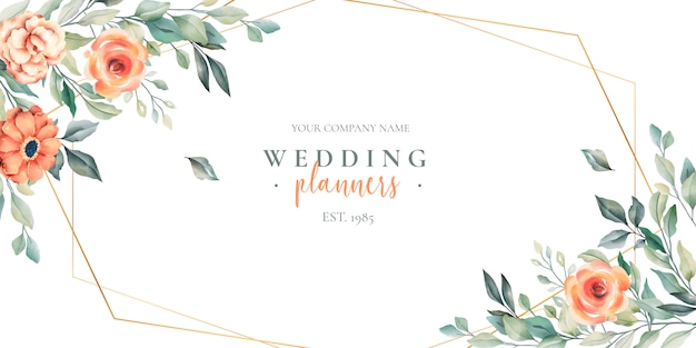 Bannière florale de planificateur de mariage avec logotype