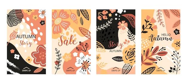 Bannière florale pour les histoires de médias sociaux, illustration de vente automne. fleurs plates, pétales, feuilles éléments de griffonnage.