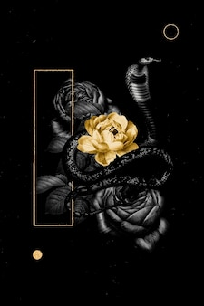 Bannière florale avec un serpent
