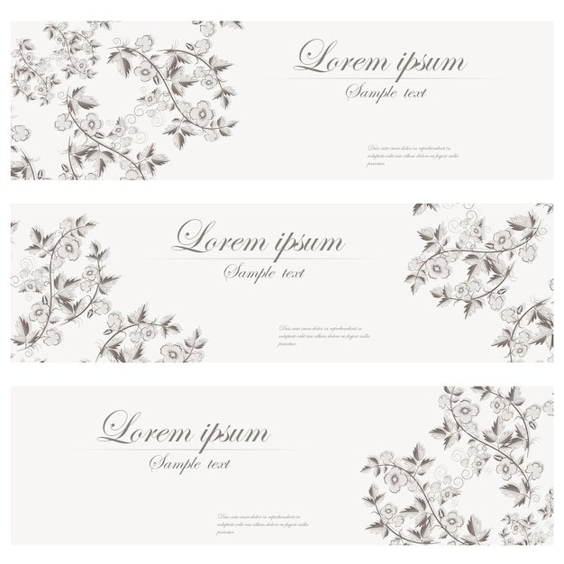Bannière florale vecteur style rétro.