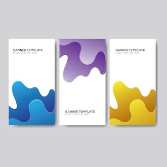 Bannière de fluide dégradé bleu, violet et jaune