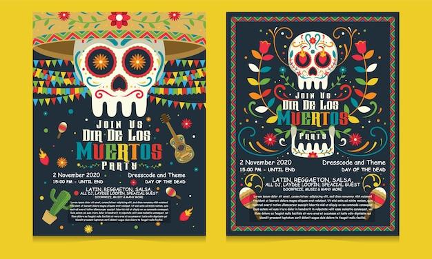 Bannière flyer jour des morts au mexique, modèle de fête de vacances dia de los muertos