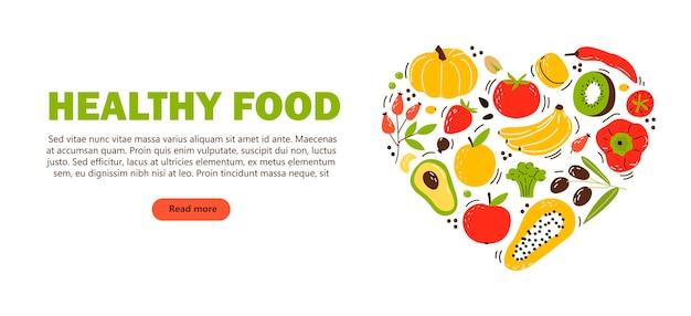Bannière, flyer avec produits, alimentation saine. fruits, légumes et noix.
