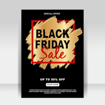 Bannière de flyer publicitaire vendredi noir avec brosse splash or