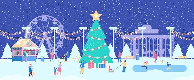 Bannière de foire de noël parc d'attractions d'hiver avec de petites personnes panorama du jardin public d'hiver