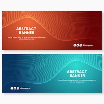 Bannière de fond abstrait vagues orange et bleu