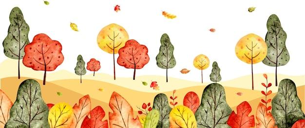 Bannière de fond aquarelle paysage automne