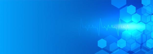 Bannière de fond bleu de soins de santé et médical