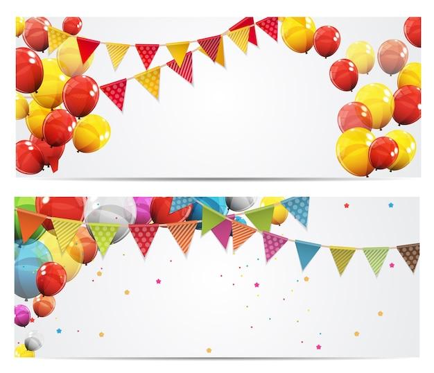 Bannière de fond de fête avec des drapeaux et des ballons