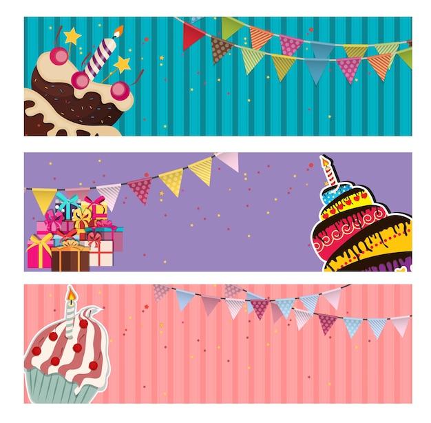 Bannière de fond de fête avec des drapeaux et des gâteaux