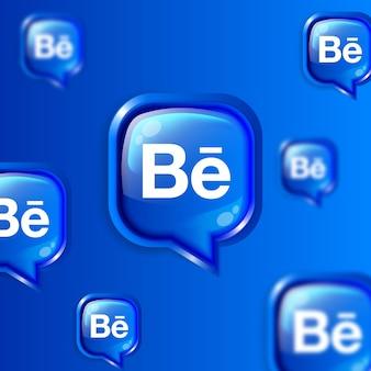 Bannière de fond d'icônes behance flottant sur les médias sociaux